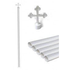Plastic Pole white with Cross