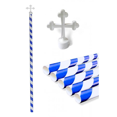 Plastic Pole striped with Cross